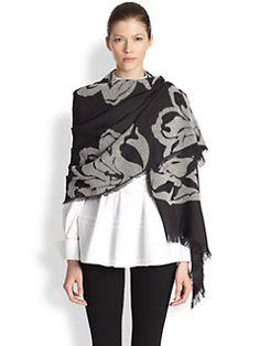 $560 Alexander McQueen - Wool & Silk Tulips Scarf