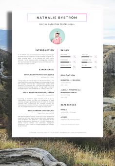 Nathalie Bystrom - Marketing CV / Resume - A Professional Approach / #Resume #ResumeDesign #CV