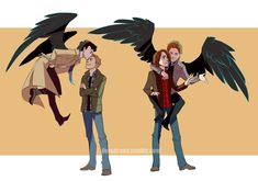Ahhhhh!!!! Destiel and Sabriel!!!!! I don't ship it, but these pictures are too cute!