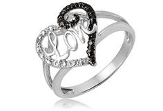 $14.99 - Black & White Diamond Accent Sterling Silver Love Heart Ring