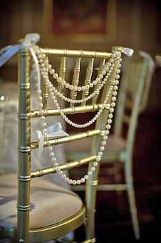 Classy Ivory Pearl Garland Bride Groom Head Chair Reception Chiavari Backing Swag Wedding Day Shower Sweetheart Table Gatsby Theme - Pin to Pin Great Gatsby Wedding, Dream Wedding, Wedding Day, Wedding Vintage, Vintage Weddings, Roaring 20s Wedding, Roaring 20s Party, Wedding Blog, Wedding Bride