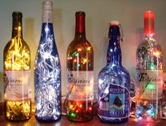 Glass bottle lights. Love it for Christmas!!!
