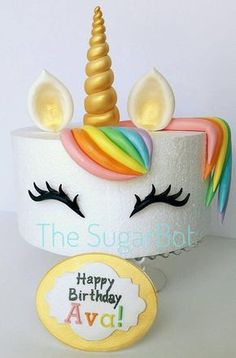 This is an offer for a unicorn theme cake set. The picture is on an high-cake, but we can customize in any size and color. These include: gold horn (or any color) ears (game horn or your color of choice) eyelashes / eyes-bangs (optional Unicorn Birthday Parties, Unicorn Party, Glitter Birthday, 7th Birthday, Birthday Ideas, Tall Cakes, Unicorn Cupcakes, Themed Cakes, Party Cakes