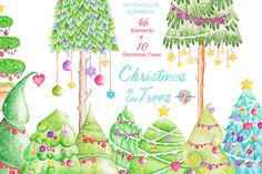 Posted by @newkoko2020 Christmas & Trees Watercolor Clipart by AurAandTheCat on @creativemarket
