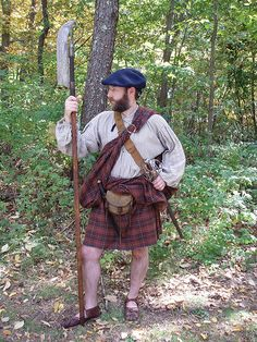 Scots Rear rank man--old 1600 sword, Lochaber axe--no socks, no coat, no firearms--Great Plaid only--Clan fighting man of little or no wealth though he is carrying a sporran which means he may have a few coins Scotish Men, Scottish Costume, Scottish Clothing, Scotland History, Men In Kilts, Highlanders, Traditional Fashion, Tartan, Plaid
