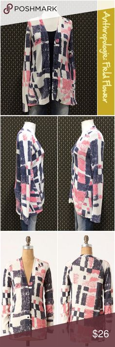 """Anthro """"Experimental Graphics Cardigan"""" by Field.. By Field Flower. Cotton/nylon blend, great condition. Button front, full length sleeves, medium weight. Anthropologie Sweaters Cardigans"""