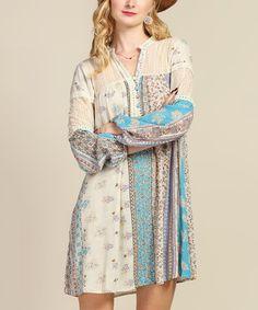 Blue & Ivory Floral Lace-Panel Shift Dress #zulily #zulilyfinds