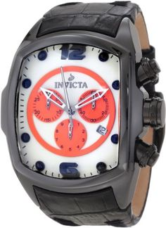 Men's Wrist Watches - Invicta Mens 10288 Lupah Revolution Chronograph White Dial Black Leather Watch *** Visit the image link more details.