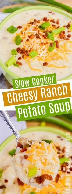 I love this soup recipeSlow Cooker Cheesy Ranch Potato Soup. I love this soup recipe Slow Cooker Recipes, Crockpot Recipes, Cooking Recipes, Freezer Recipes, Cheese Recipes, Potato Recipes, Best Healthy Soup Recipe, Easy Healthy Recipes, Cheesy Ranch Potatoes