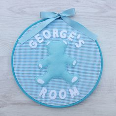 Personalised Room Sign - Blue Bear - Hoop Art - Child's Bedroom - Nursery - Christening Gift - Baby Shower - pinned by pin4etsy.com