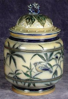 1878 Covered jar   Edwin was the decorator and Walter threw the pots Martin Brothers Stoneware Pottery 1873 - 1915
