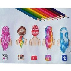 Which one is your favorite!?? Social hair styles by @take_time_to_draw Follow us! Tag your friends#dailyart