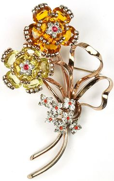 Pennino Sterling 'Jewels of Fantasy' Citrine and Topaz Giant Floral Spray with Bow Pin