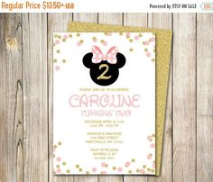 30% OFF WEEKEND SALE Minnie Mouse Invitation, Minnie Mouse Birthday Invitation, Birthday Invitation, Pink and Gold, Minnie, Disney, Printabl by ThePaperTrailCo on Etsy (null)