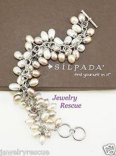 Silpada-Pearl-Cha-Cha-Bracelet-925-Sterling-Silver-B1072-RARE-B