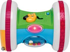 Chicco Spring Roller Dit speelgoed stimuleert je kindje te leren kruipen: hij hoeft het maar te laten rollen om een Caribische melodie te horen, die hem aanspoort om te bewegen.