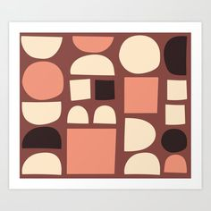 Mid Century Modern Abstract Shapes Art Print by kitchensinkprintshop Geometric Wall Art, Colorful Wall Art, Shape Art, Abstract Shapes, Retro Design, Decorating On A Budget, Minimalist Home, Buy Frames, Mid-century Modern