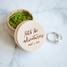 "Custom wooden ring box for weddings, anniversary, wedding proposal, ""Let's Be Adventurers"""