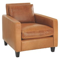 Superbe CHESTER Mid Tan Leather Armchair, Dark Stained Feet