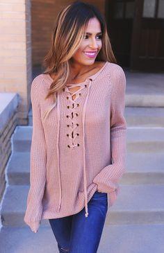 Mocha Tie Up Knit Long Sleeve - Dottie Couture Boutique