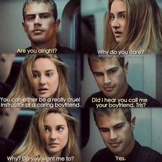 Book scene that I wish was in the movie! Book scene that I wish was in the movie! Divergent Memes, Divergent Four, Tris And Tobias, Divergent Hunger Games, Divergent Fandom, Divergent Trilogy, Divergent Insurgent Allegiant, Insurgent Quotes, Tris E Quatro