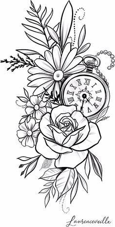 rose daisy flower clock tattoo design Tattoo Design - Laurenceveillx - rose daisy flower clock tattoo design Tattoo Design – Laurenceveillx You are in the right place ab - Clock Tattoo Design, Floral Tattoo Design, Flower Tattoo Designs, Tattoo Style, Desenho Tattoo, Tattoo Stencils, Pencil Art Drawings, Mandala Tattoo, Future Tattoos