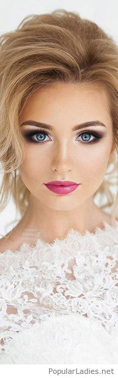Amazing makeup for wedding, blue and pink