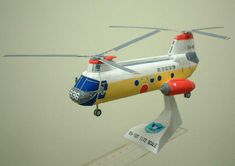 Kawasaki KV-107 (Boeing Vertol CH-46 Sea Knight) Transport Helicopter Free Paper Model Download - http://www.papercraftsquare.com/kawasaki-kv-107-boeing-vertol-ch-46-sea-knight-transport-helicopter-free-paper-model-download.html
