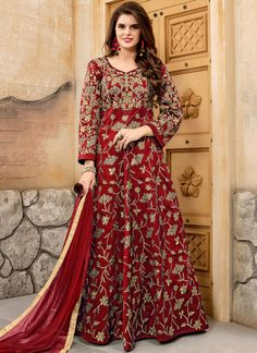 Online shopping for latest and designer salwar kameez in different style. Buy this lovable tafeta silk floor length anarkali suit for festival and party.