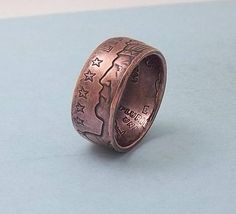 Copper Coin Ring Made from 1/2 oz Copper 1929 Indian Design