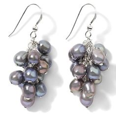 Black Cultured Freshwater Pearl Sterling Silver Dangle Earrings at HSN.com.