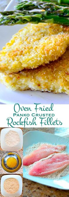 Panko Crusted Oven Fried Rockfish Fillets