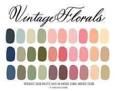Vintage Colour Palette, Cool Color Palette, Vintage Colors, Vintage Floral, Website Color Palette, Blush Color Palette, Spring Color Palette, Color Schemes Colour Palettes, Color Combos