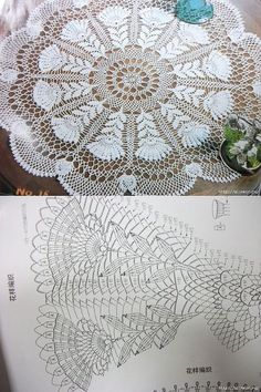 Kira scheme crochet: A zigzag napkin pineapple
