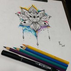 Rascunho  que fiz para uma cliente minha.  Flor de lotus com aquarela.  Gostei dessa combinação! #ta - joaocaldara