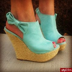 Mint Wedges with Bows. I HAVE to have these. I NEED these.