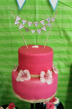 Hey, I found this really awesome Etsy listing at https://www.etsy.com/listing/163340926/hawaiian-themed-mini-happy-bithday-cake