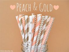 Peach and Gold Mixed Paper Straws by PopUpPartiesShop, $4.00 Peach and Gold - Wedding, Parties, Showers, and gifts!!