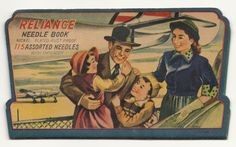 Reliant Needle Book - Vintage Sewing Needle Very nice vintage needlebook featuring an airplane in the background and a family of four in the