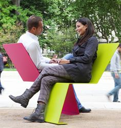 Mobilier urbain De vous à moi by Tolerie Forezienne La chaise « De vous à moi »…