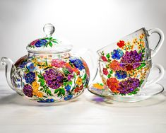 Hand-Painted Glass Mugs and Teapots Look Like Beautiful Stained Glass Art Wedding Gifts For Parents, Great Wedding Gifts, Gifts For Mom, Glass Teapot, Personalized Mother's Day Gifts, Diy Bird Feeder, Flower Tea, Christmas Gifts For Women, Tea Sets