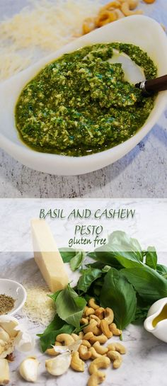 Basil and cashew is full of summer fragrance, bright green basil leaves whizzed up with toasted cashew nuts and garlic in seconds to make this perfumed pesto, fabulous served with pasta, chicken, fish or crackers the list goes on. Nut Recipes, Sauce Recipes, Gourmet Recipes, Vegetarian Recipes, Cooking Recipes, Healthy Recipes, Appetizer Recipes, Healthy Food, Appetizers