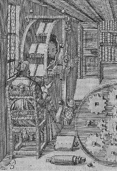 La 'rueda de libros' de Agostino Ramelli.  http://blogs.20minutos.es/trasdos/2013/03/05/rueda-de-libros-renacimiento/