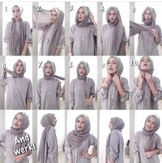 easy way to wear hijab with gown.Hijab style step by step tutorials. Stylish Hijab, Modern Hijab, Hijab Chic, Tutorial Hijab Segitiga, Simple Hijab Tutorial, Hijab Dress, Hijab Outfit, Ootd Hijab, Hijabs