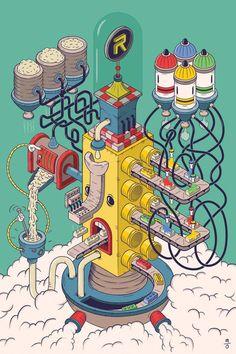 Martin Orza - Illustrator and graphic designer. Isometric Art, Isometric Design, Graphic Design Illustration, Illustration Art, Ligne Claire, Illustrations And Posters, Animation, Poster Designs, Art Lessons