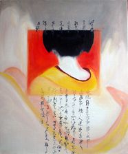 geisha painting   kimono and calligraphy  geisha memories  oil painting  55x46 cm  540 €