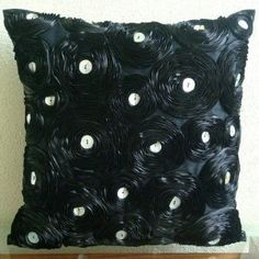 Black Paradise -Throw Pillow Covers - Silk Pillow Cover with Satin Ribbon Embroidery :     Price: $57.00    .        Black Paradise - Decorative Throw Pillow Cover. This pillow cover is made using Silk Dupioni fabric, hand embroidered with Black Satin Ribbons to create Vintage Roses with Silver Mother Of Pearl in the center. Materials Used - Silk Dupioni, Satin ribbons, Mother Of Pearls....Check Price >> http://gethotprice.com/appin/?t=B004NPRXZI