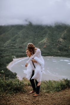 """These two """"eloped"""" on a mountaintop on Oahu, Hawaii. Who could ask for a better adventurous elopement session? Now who wants to elope in Hawaii! Whimsical Wedding Inspiration, Elopement Inspiration, Wedding Photography Inspiration, Hawaii Elopement, Hawaii Wedding, Wedding Couple Pictures, Wedding Couples, Bridal Makeup Looks, Bridal Hair And Makeup"""