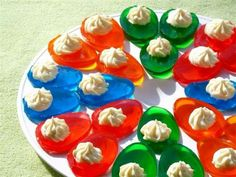 Pour Jell-o in too devil egg carrier mold and place filled tray in fridge to set up. When set remove from the tray and add whip cream and ..Volia...Jell-o Deviled Eggs.