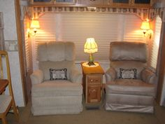 RV Mods; Re-do of recliners in 5th Wheel. A before and after & RV Furniture Leather Dual Recliner72